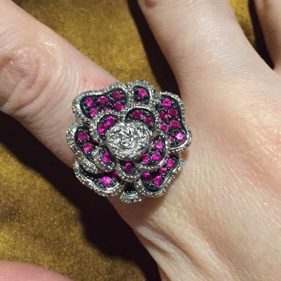 Zales Jewelry Firm Beautiful Rose Diamond Ruby Cocktail Ring Poshmark